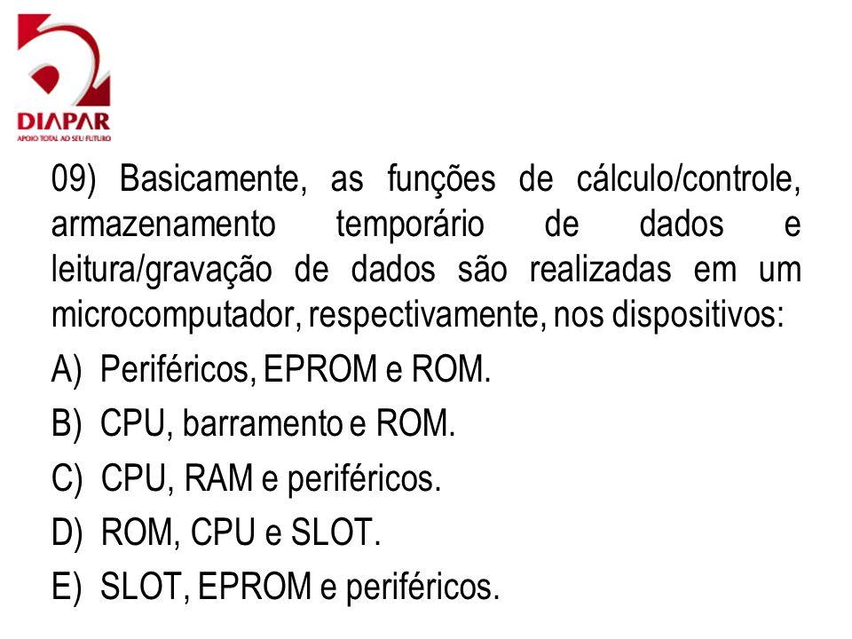 09) Basicamente, as funções de cálculo/controle, armazenamento temporário de dados e leitura/gravação de dados são realizadas em um microcomputador, respectivamente, nos dispositivos: