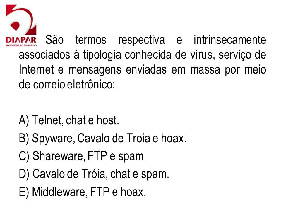 79) São termos respectiva e intrinsecamente associados à tipologia conhecida de vírus, serviço de Internet e mensagens enviadas em massa por meio de correio eletrônico: