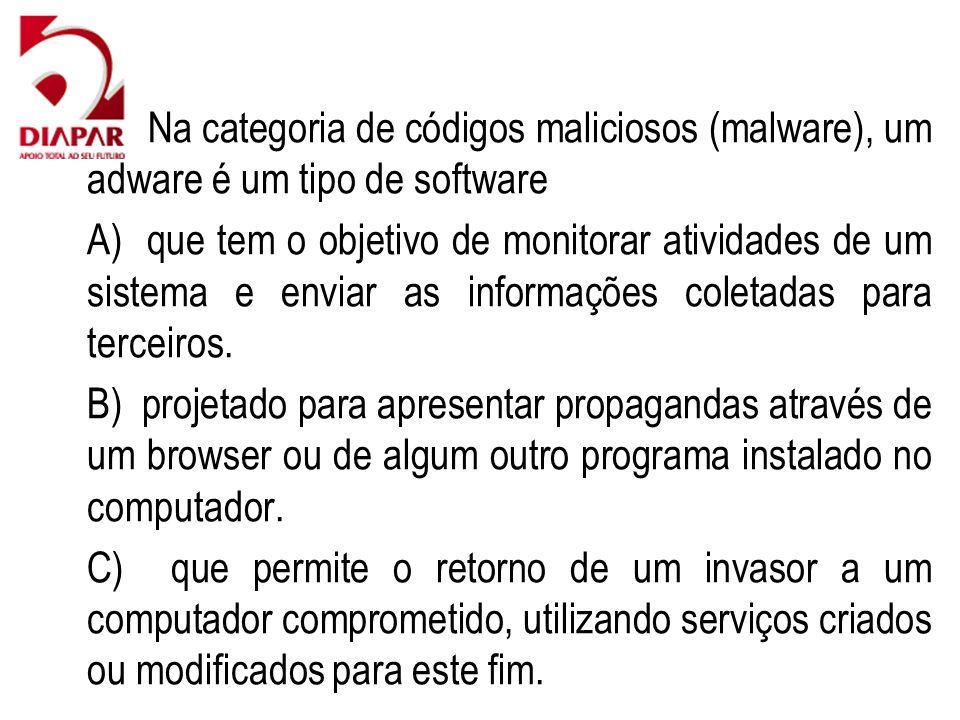 80) Na categoria de códigos maliciosos (malware), um adware é um tipo de software