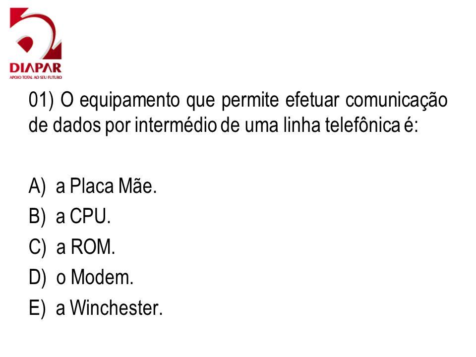 01) O equipamento que permite efetuar comunicação de dados por intermédio de uma linha telefônica é: