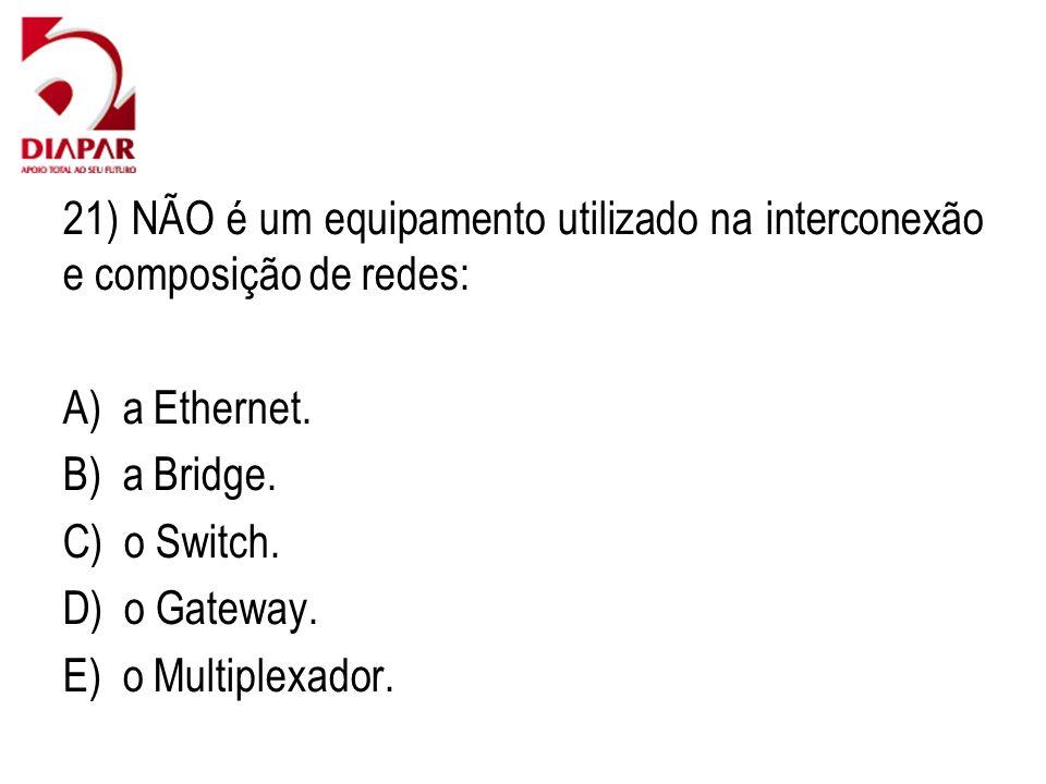 21) NÃO é um equipamento utilizado na interconexão e composição de redes: