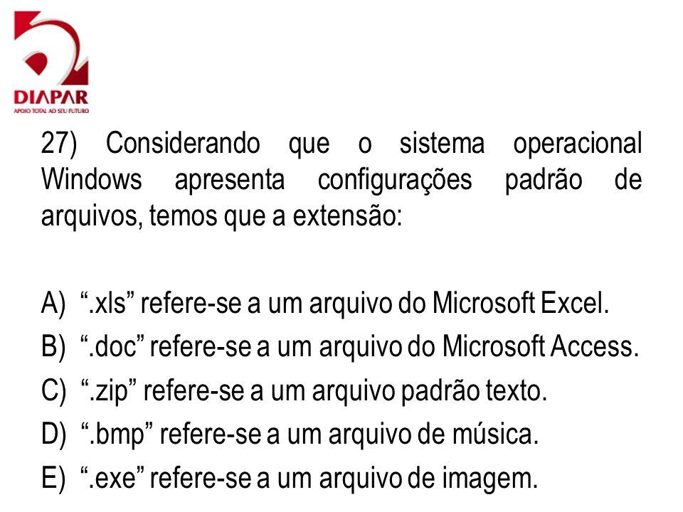 27) Considerando que o sistema operacional Windows apresenta configurações padrão de arquivos, temos que a extensão: