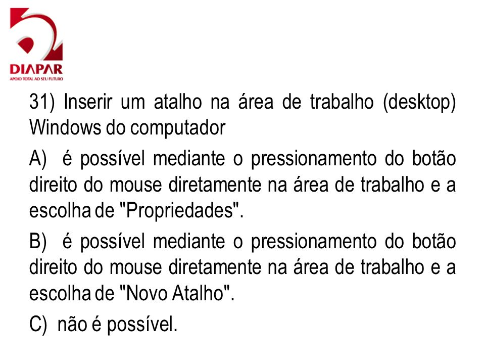 31) Inserir um atalho na área de trabalho (desktop) Windows do computador