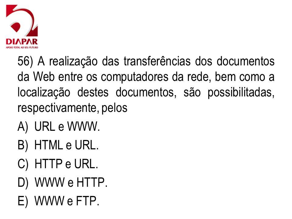 56) A realização das transferências dos documentos da Web entre os computadores da rede, bem como a localização destes documentos, são possibilitadas, respectivamente, pelos