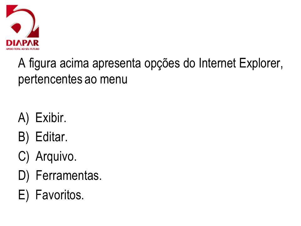 A figura acima apresenta opções do Internet Explorer, pertencentes ao menu