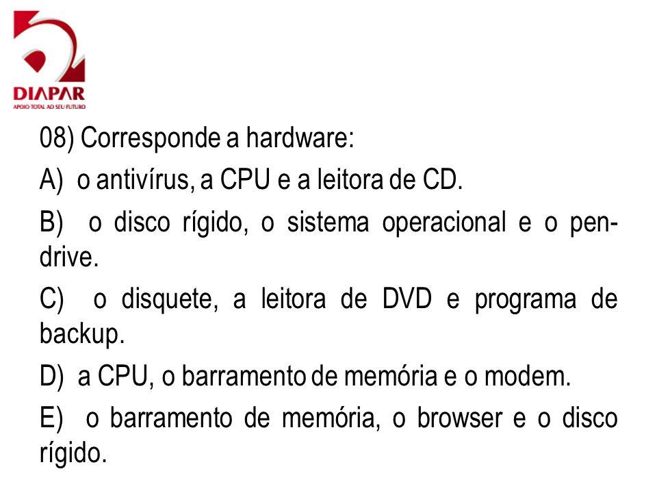 08) Corresponde a hardware: