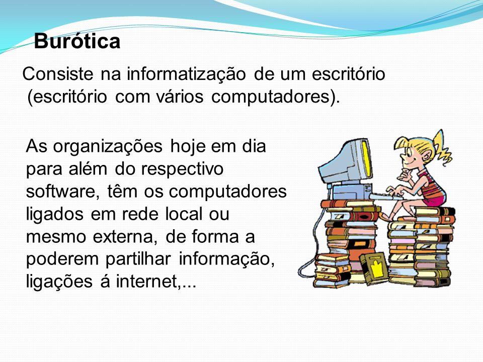 Burótica Consiste na informatização de um escritório