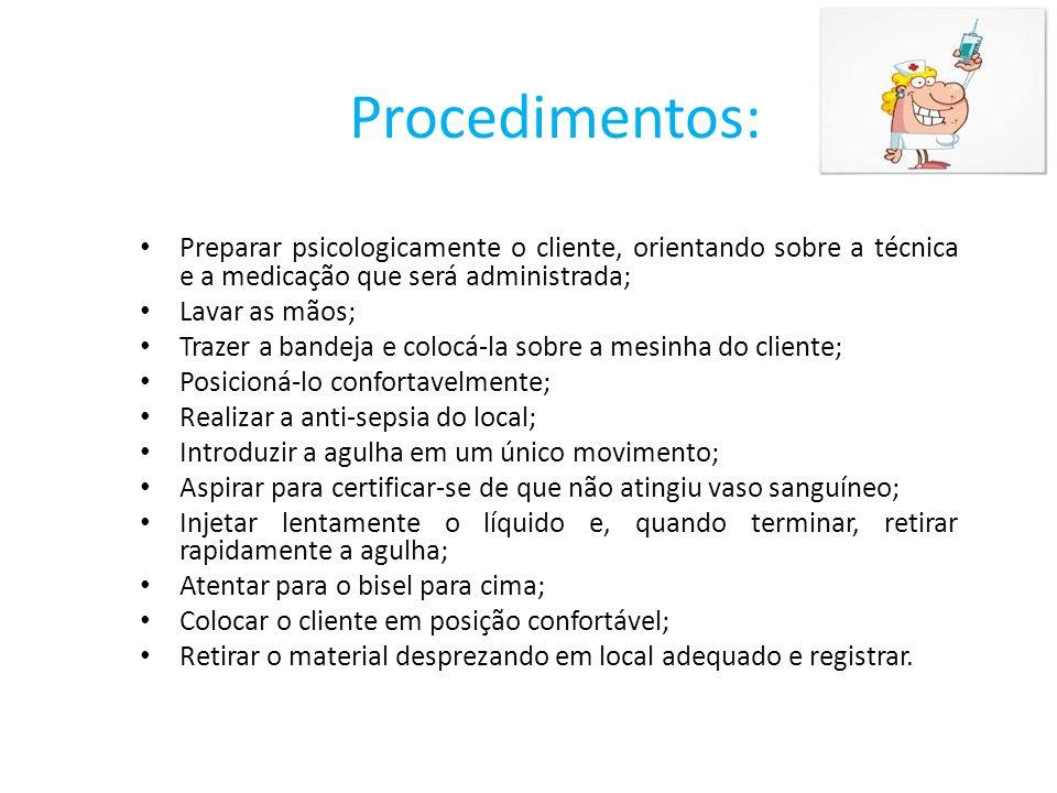 Procedimentos: Preparar psicologicamente o cliente, orientando sobre a técnica e a medicação que será administrada;