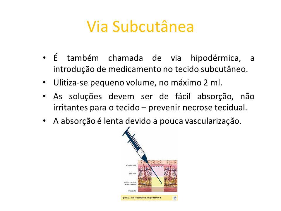 Via Subcutânea É também chamada de via hipodérmica, a introdução de medicamento no tecido subcutâneo.