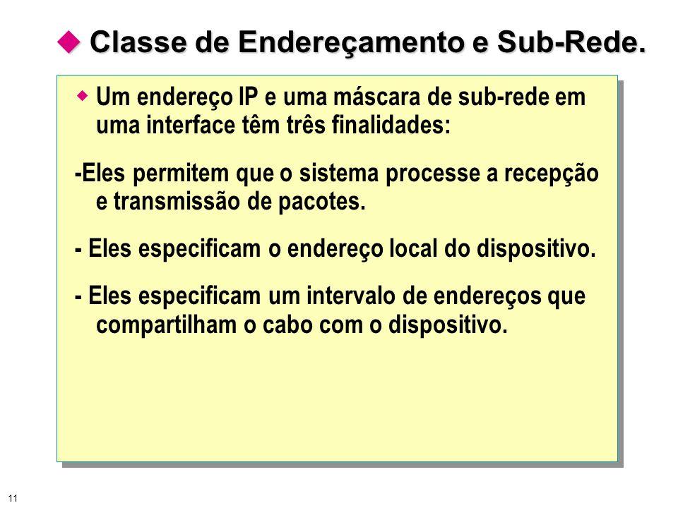  Classe de Endereçamento e Sub-Rede.