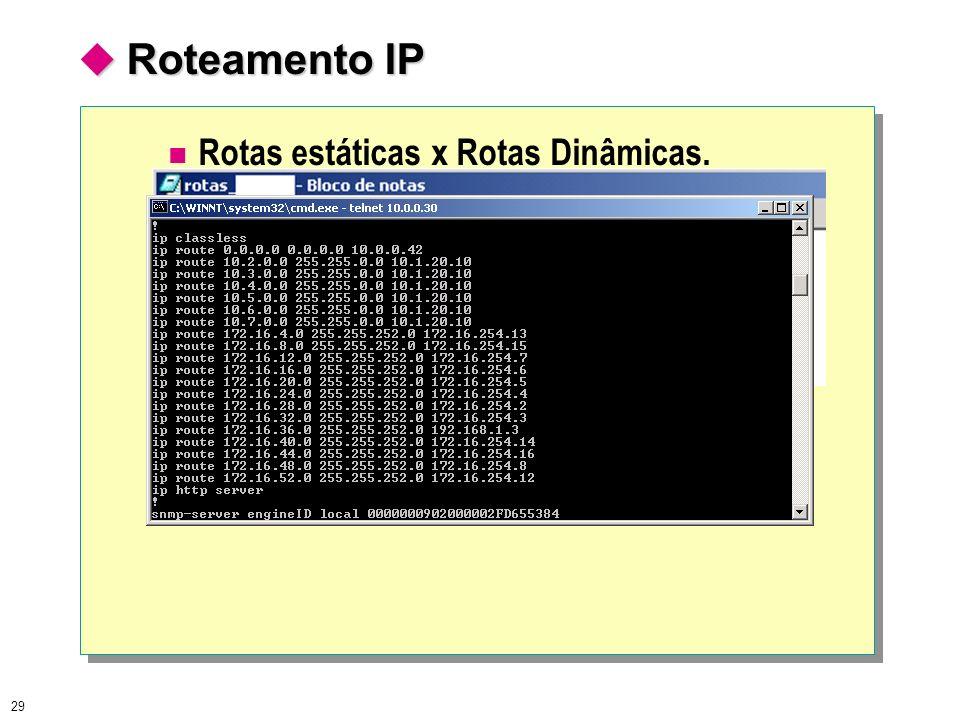  Roteamento IP Rotas estáticas x Rotas Dinâmicas.