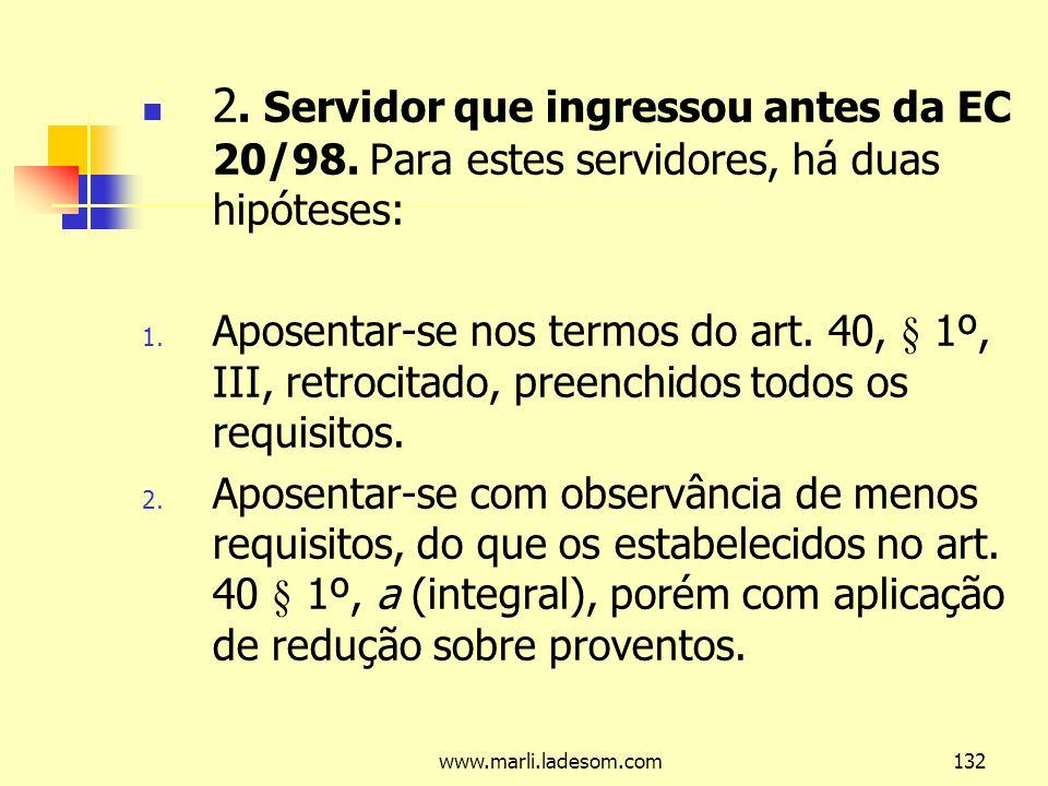 2. Servidor que ingressou antes da EC 20/98