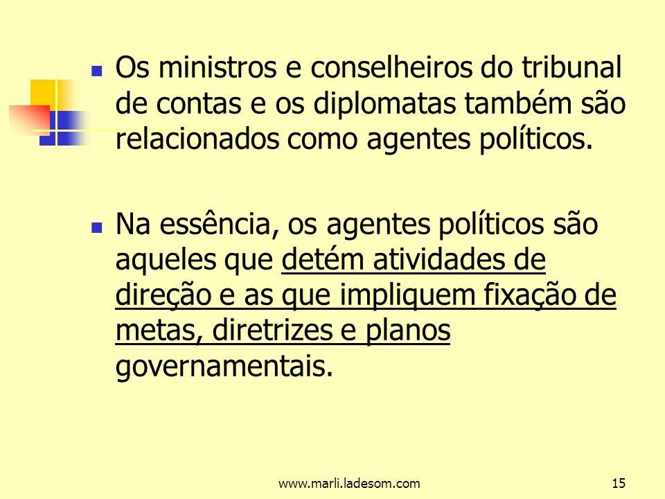 Os ministros e conselheiros do tribunal de contas e os diplomatas também são relacionados como agentes políticos.
