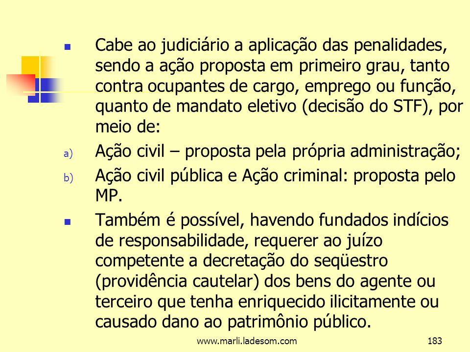 Ação civil – proposta pela própria administração;