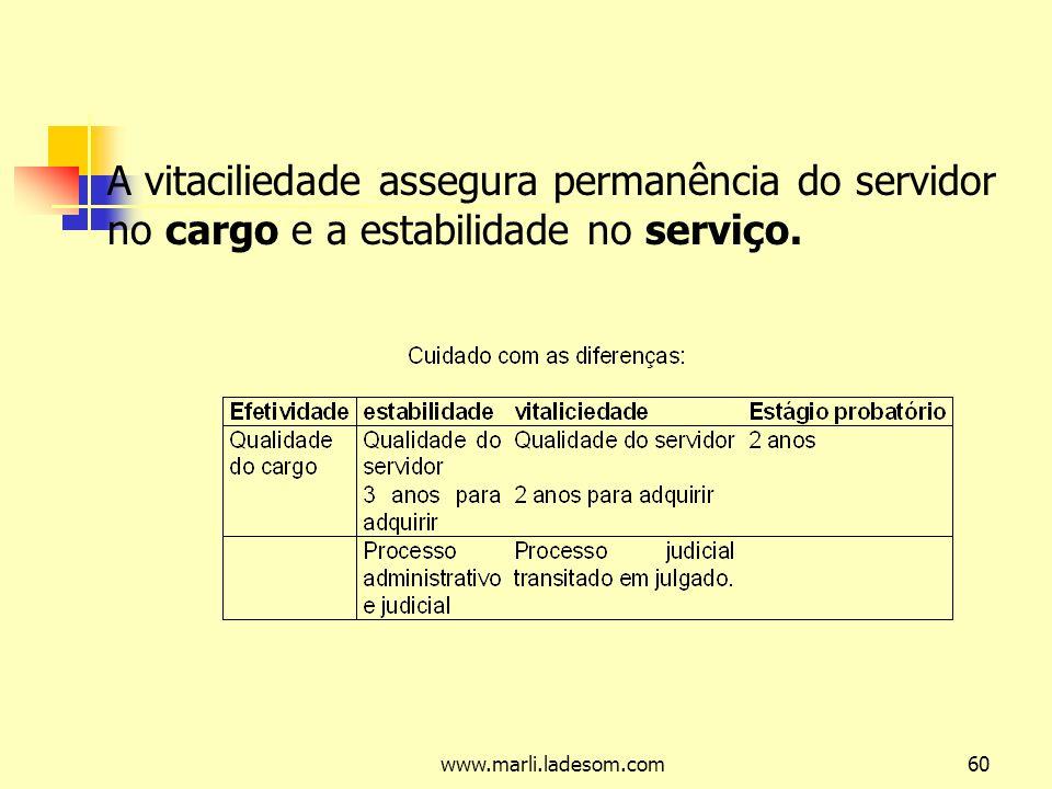 A vitaciliedade assegura permanência do servidor no cargo e a estabilidade no serviço.