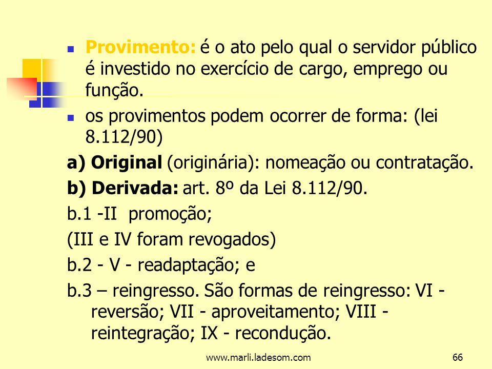 os provimentos podem ocorrer de forma: (lei 8.112/90)