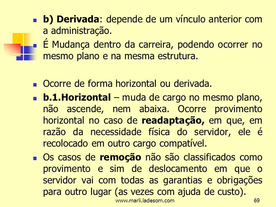 b) Derivada: depende de um vínculo anterior com a administração.