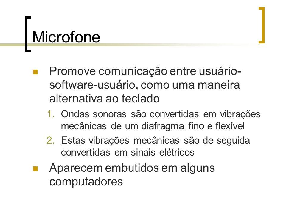 Microfone Promove comunicação entre usuário-software-usuário, como uma maneira alternativa ao teclado.