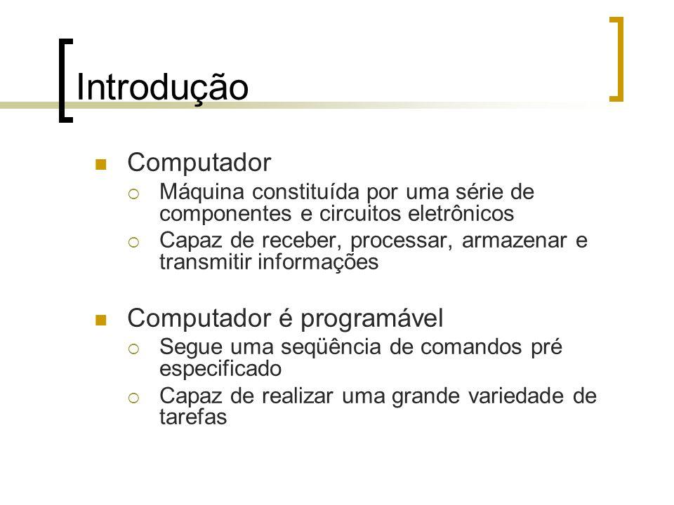 Introdução Computador Computador é programável
