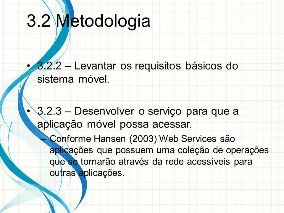 3.2 Metodologia 3.2.2 – Levantar os requisitos básicos do sistema móvel. 3.2.3 – Desenvolver o serviço para que a aplicação móvel possa acessar.