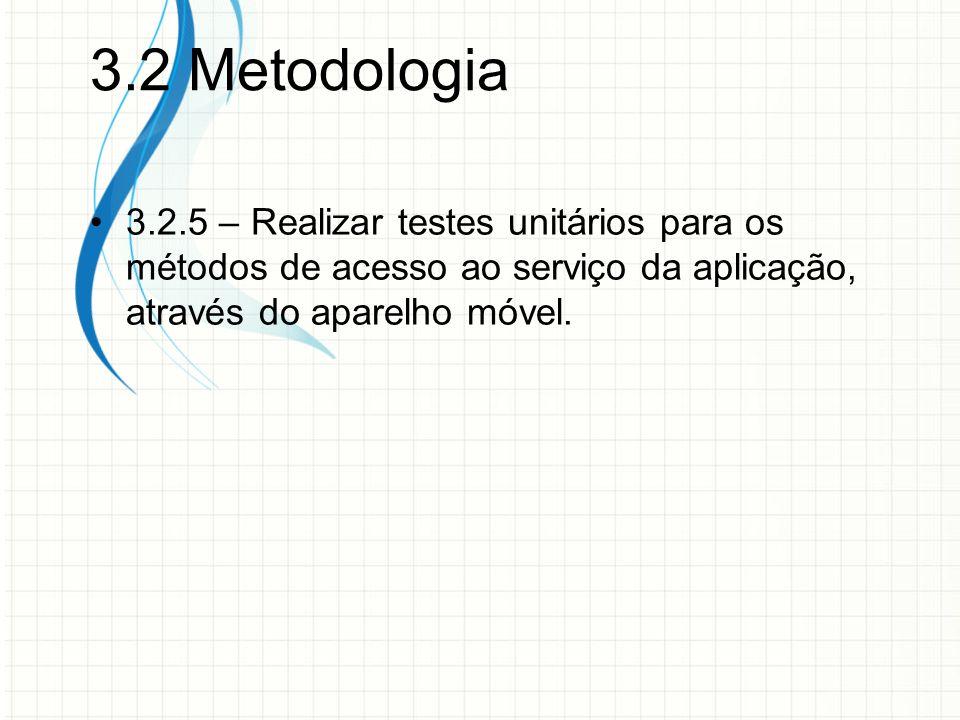 3.2 Metodologia 3.2.5 – Realizar testes unitários para os métodos de acesso ao serviço da aplicação, através do aparelho móvel.