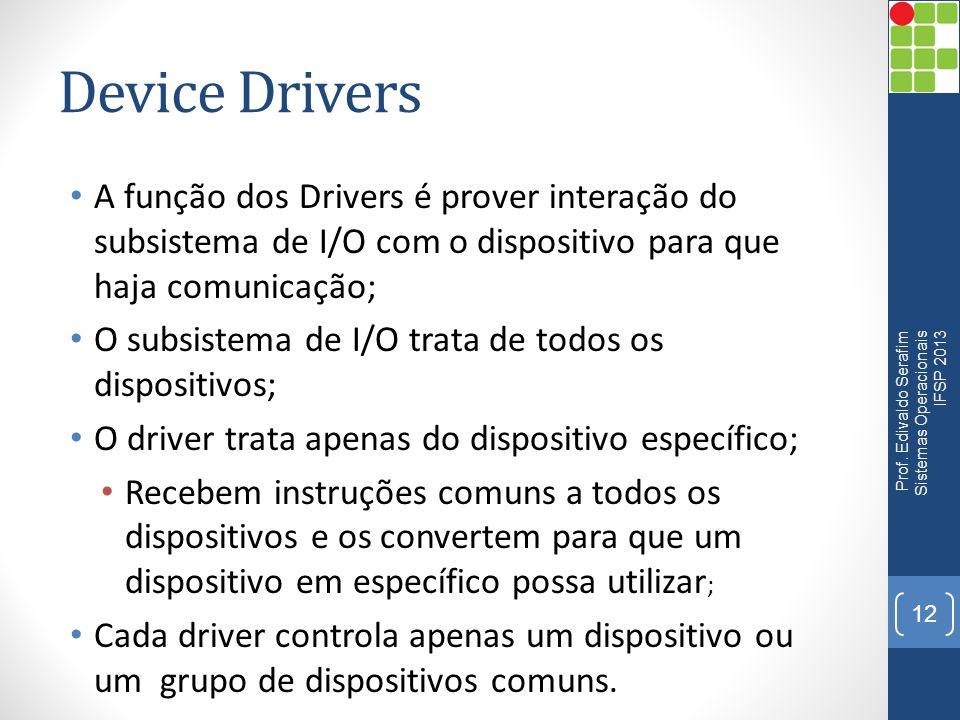 Device Drivers A função dos Drivers é prover interação do subsistema de I/O com o dispositivo para que haja comunicação;
