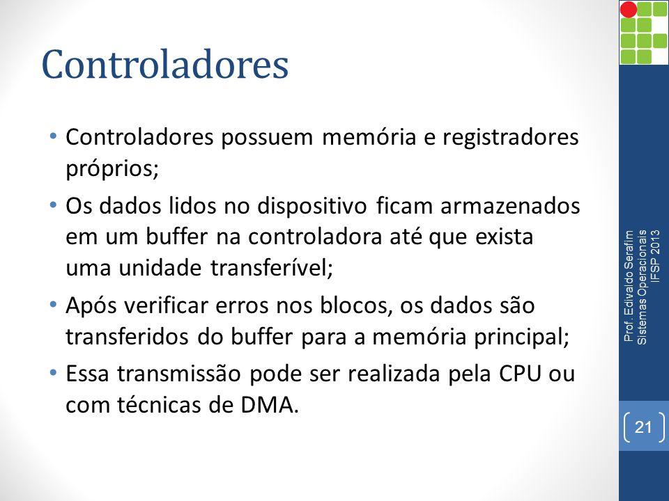 Controladores Controladores possuem memória e registradores próprios;