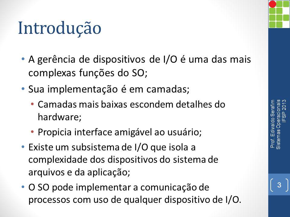 Introdução A gerência de dispositivos de I/O é uma das mais complexas funções do SO; Sua implementação é em camadas;