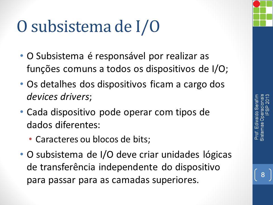 O subsistema de I/O O Subsistema é responsável por realizar as funções comuns a todos os dispositivos de I/O;