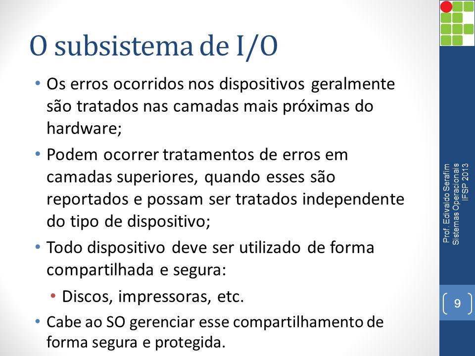 O subsistema de I/O Os erros ocorridos nos dispositivos geralmente são tratados nas camadas mais próximas do hardware;