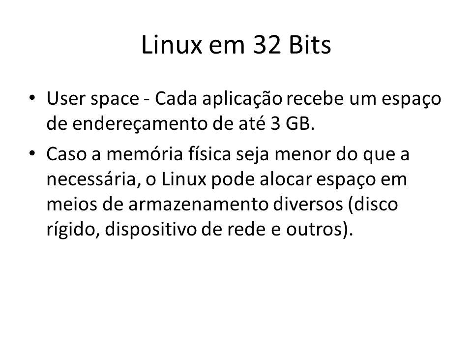 Linux em 32 Bits User space - Cada aplicação recebe um espaço de endereçamento de até 3 GB.