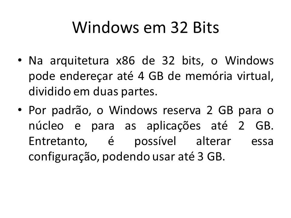 Windows em 32 Bits Na arquitetura x86 de 32 bits, o Windows pode endereçar até 4 GB de memória virtual, dividido em duas partes.