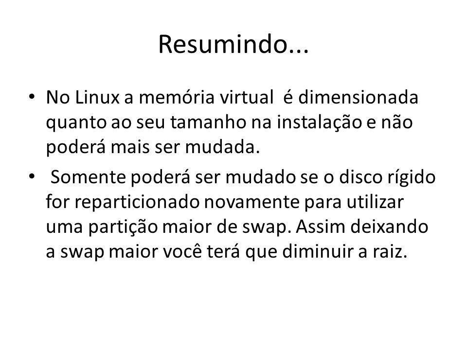 Resumindo... No Linux a memória virtual é dimensionada quanto ao seu tamanho na instalação e não poderá mais ser mudada.