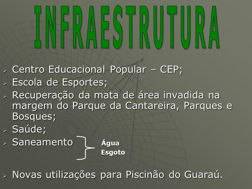INFRAESTRUTURA Centro Educacional Popular – CEP; Escola de Esportes;