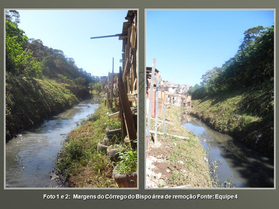 Foto 1 e 2: Margens do Córrego do Bispo área de remoção Fonte: Equipe 4