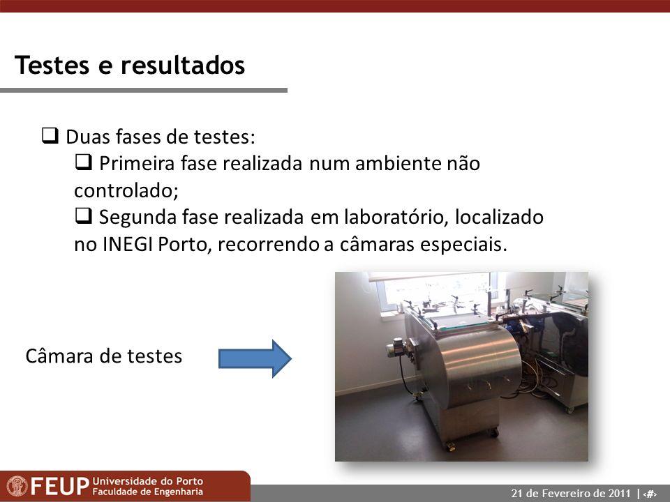 Testes e resultados Duas fases de testes: