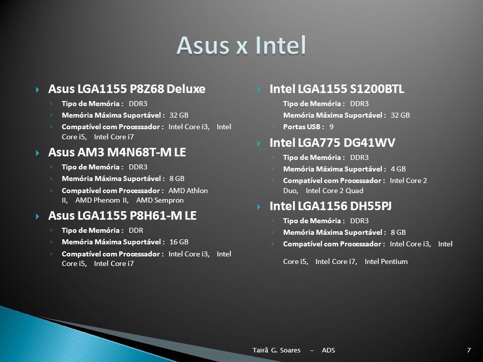 Asus x Intel Asus LGA1155 P8Z68 Deluxe Asus AM3 M4N68T-M LE