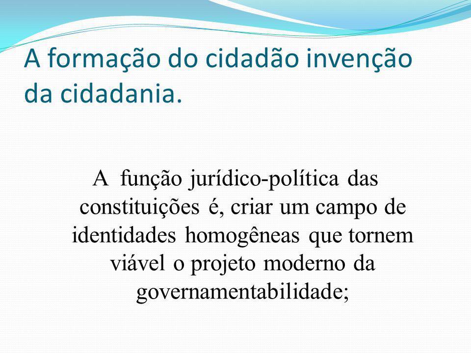A formação do cidadão invenção da cidadania.