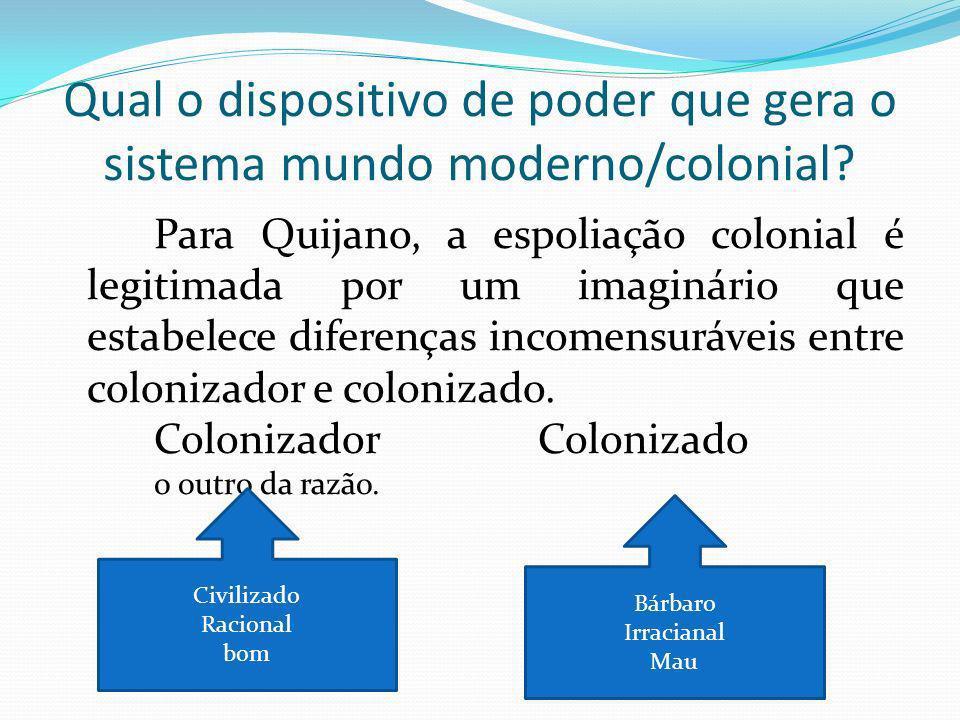 Qual o dispositivo de poder que gera o sistema mundo moderno/colonial