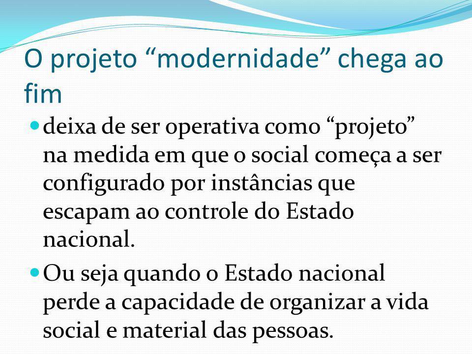 O projeto modernidade chega ao fim