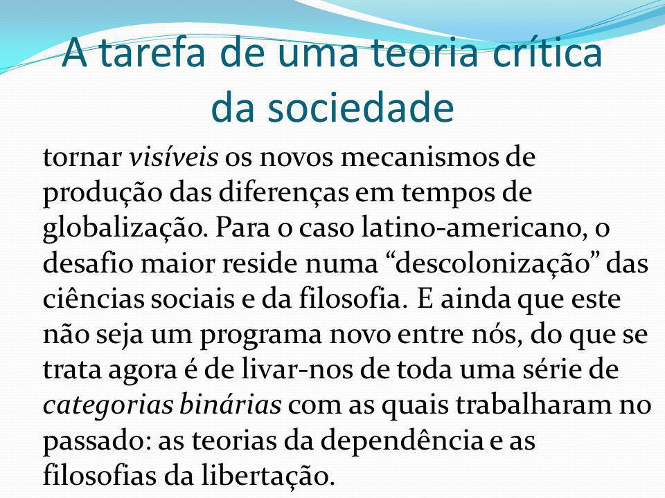 A tarefa de uma teoria crítica da sociedade