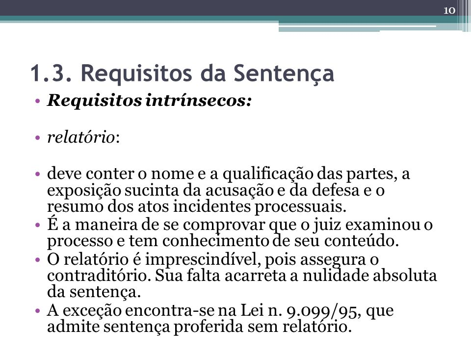 1.3. Requisitos da Sentença