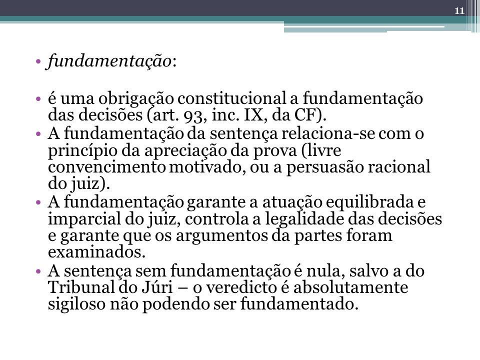 fundamentação: é uma obrigação constitucional a fundamentação das decisões (art. 93, inc. IX, da CF).