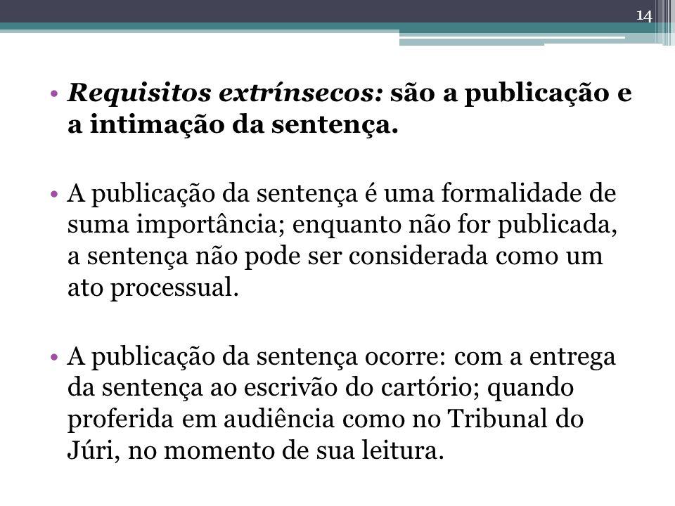 Requisitos extrínsecos: são a publicação e a intimação da sentença.