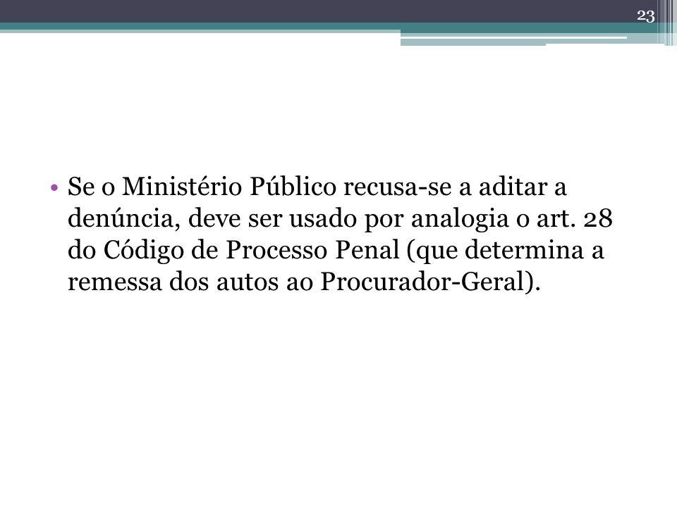 Se o Ministério Público recusa-se a aditar a denúncia, deve ser usado por analogia o art.