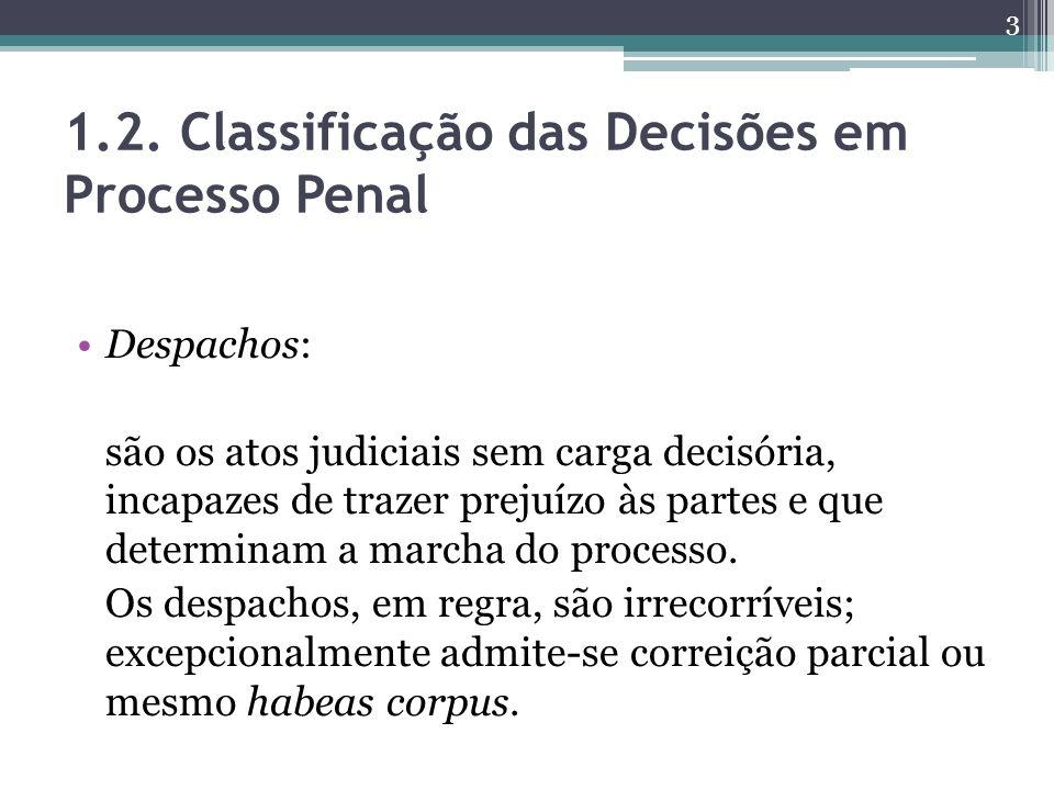 1.2. Classificação das Decisões em Processo Penal