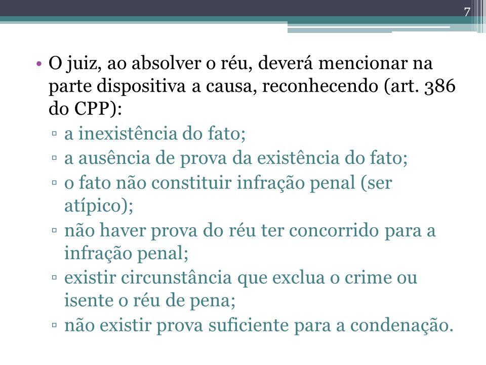 O juiz, ao absolver o réu, deverá mencionar na parte dispositiva a causa, reconhecendo (art. 386 do CPP):