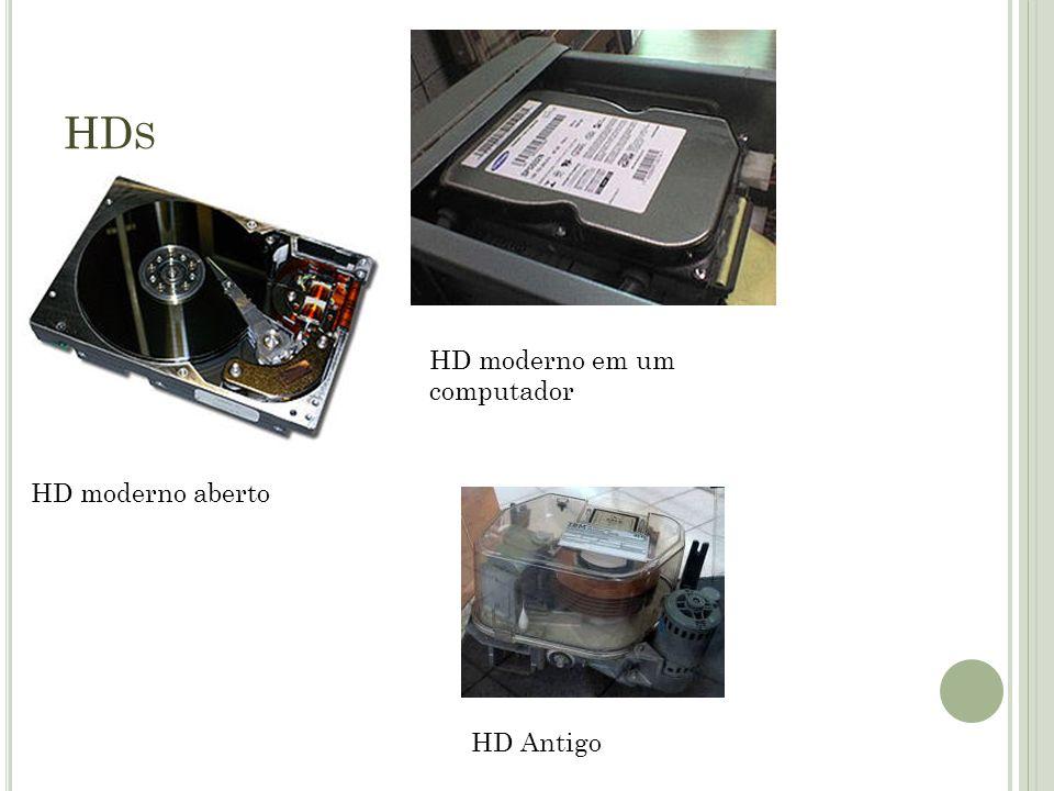 HDs HD moderno em um computador HD moderno aberto HD Antigo
