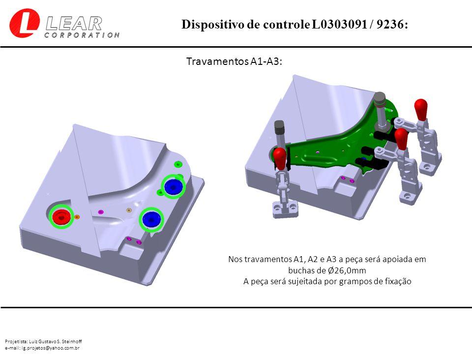 Travamentos A1-A3: Nos travamentos A1, A2 e A3 a peça será apoiada em buchas de Ø26,0mm.