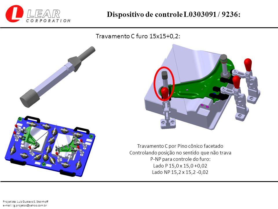 Travamento C furo 15x15+0,2: Travamento C por Pino cônico facetado